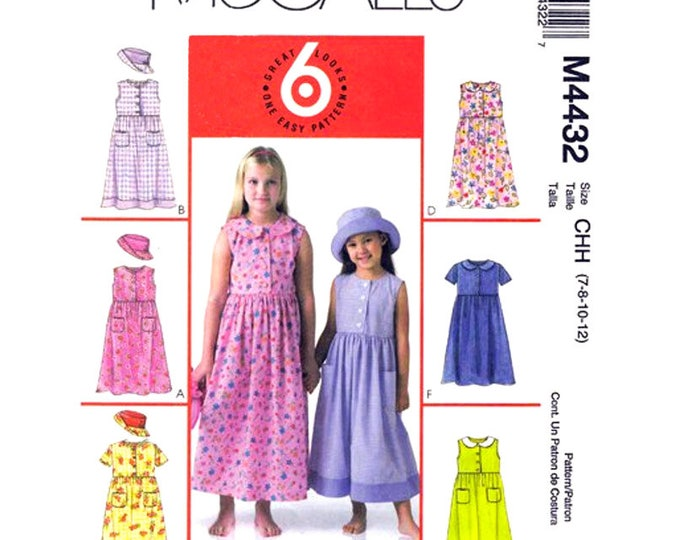Girls Empire Prairie Dress & Hat Pattern McCalls 4432 Size 7 8 10 12 Peter Pan Collar