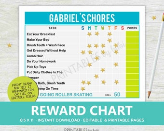 KIDS Chore Chart, Chore Chart Printable Responsibility Chart, Daily Chores for Childrens with Reward Editable PDF, Instant Download
