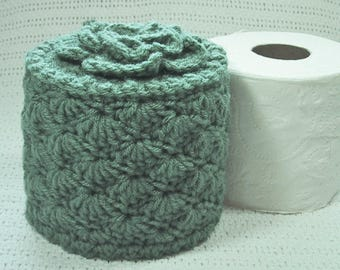 Cover Your Spare - Toilet Paper Cover w- Flower on Top - TP Cozy - Hand Crocheted in Light Sage Color Acrylic Yarn - Bed & Breakfast Decor