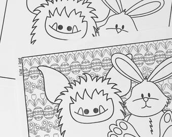 Printable Easter Colouring Page - Easter Fun for Kids Colouring Page - Coloring Page for Adults - Fuzzling - Print and Colour Download PDF