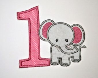 "Birthday Embroidered Iron On Applique  ""Elephant"""