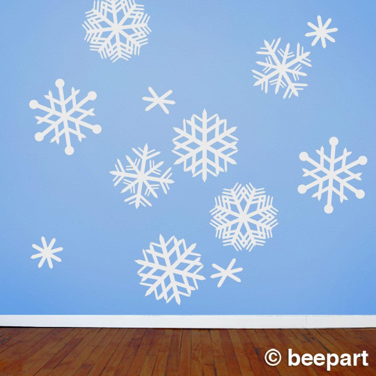 Beau Snowflakes Wall Decals, Mid Century Snowflakes, Vintage Style Snowflakes,  FREE SHIPPING