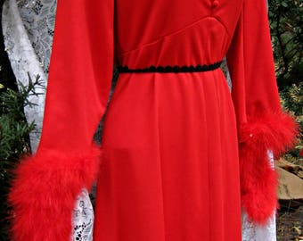 Smaller Red Feathered dress, 1960s 60s dress, New Years Eve dress, Christmas party dress, ball gown dress, Red feathers dress, Holiday dress
