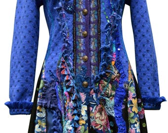 Reserved for MR. Long blue sweater Coat, Dragonfly Fantasy outerwear, boho embellished festival, reconstructed clothing