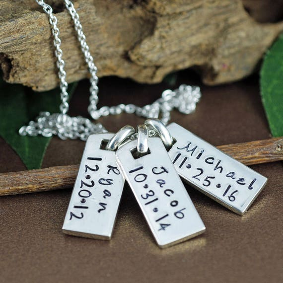 dog tag necklace mini dog tag necklace personalized mothers. Black Bedroom Furniture Sets. Home Design Ideas