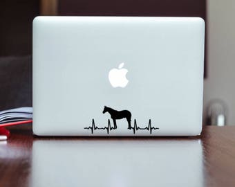 Horse Decal, Horse Heartbeat Decal, Laptop Decal, Horse Laptop Sticker, Horse Decor, Horse Lover Gift, Horse Sticker, Equestrian Decal, Farm