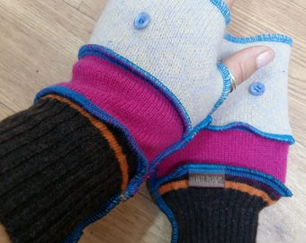 Fabulous and Funky Wristwarmer Gloves Fingerless OSFA Upcycled Wools
