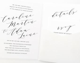 Pocket Wedding Invitation, Pocket Fold Wedding Invitation, Pocketfold  Wedding Invite, Invitation Suite,
