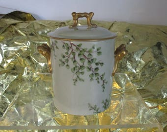 Antique Heavily Gilded Condensed Milk Holder/Jam Jelly Holder Formal  Hand Painted Porcelain Beautiful Flawless Floral