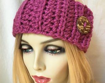 Crochet Headband Ear Warmer, Berry, Ski Headband, Choose Color, Chunky, Gifts for her, Birthday Gifts, Handmade JE111HB1