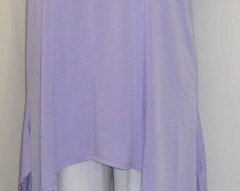 Coco and Juan, Lagenlook, Plus Size Tunic, Purple Lavender, Traveler Knit Angled, Women's Tank Top, Size 2 Fits 3X,4X Bust  to 60 inches