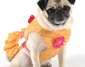 Dog Harness, Dog Dress - Orange and Pinki