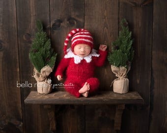 Pajamas Hand Knitted Newborn Bear PJs Mohair Elf Sleeper Hat Jammy Set Photo Prop Romper Baby Overall Going Home Outfit Onepiece Bodysuit