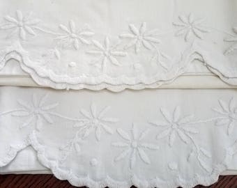 Vintage Pillowcase Embroidered Floral Whitework Scalloped White Embroidery 1950s