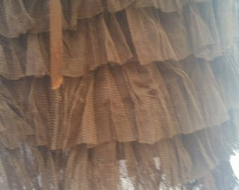 brown ruffle skirt, steampunk look, lace ribbons, feminine skirt, patchwork fabric