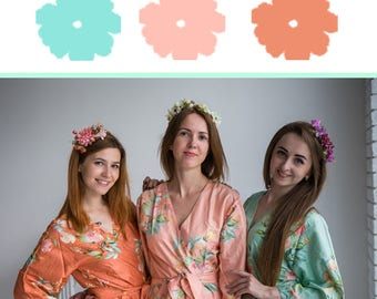 Aqua Mint, Peach and Rust Wedding Color Bridesmaids Robes - Premium Soft Rayon - Wider Belt and Lapels - Wider Kimono sleeves