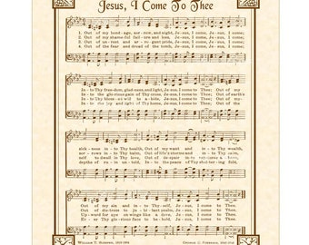 JESUS I COME AKA Out Of My Bondage Sorrow And Night Hymn Wall Art Christian Home & Office Decor Vintage Verses Sheet Music Inspirational Art