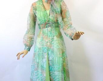 Vintage 70s Maxi Dress w Sheer Coat Mint Green Knit Dress Floral Print Long Sheer Coat  Size 13 Bust 36