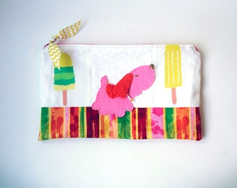 """Zipper Pouch, 5.5x9"""" in white, pink, yellow, green and red popsicle print fabric with Handmade Felt Dog Embellishment, Puppy Zipper Pouch"""