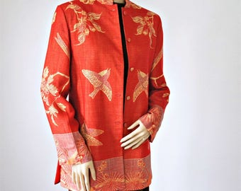 Asian Jacket Vintage 1970's 1980's Linen Silk Birds Over Blouse Red Size 38