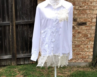 Altered Women's White and Creme  Cotton, Lace Dollies Top,Altered Couture, Magnolia Pearl Style, Size 14, Shabby Chic,Romantic Tunic,Blouse