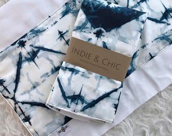 Oversized Burp Cloth - Indigo Dye Fabric Print   Boho Baby   Indie Baby