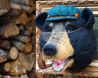 Needle Felted One of a kind Wool Faux Taxidermy Hipster Bear Soft Sculpture by Bella McBride of McBride House