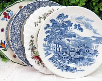 """Set of 4 Vintage Mismatched Ironstone China 7"""" Dessert Cake Salad Plates Colorful Blues and Rust SP53"""