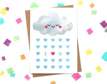 Valentines Card, Cloud I Love You Card, Sleepy Rain Cloud, Anniversary Paper Goods