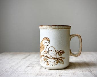 Vintage Stoneware Mug by Dunoon Ceramics, Barn Owl Family, Made in Scotland