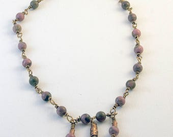 Rhodonite and copper beads on bronze wire