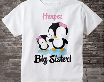 Penguin Big Sister tee shirt or Onesie, Big Sister Tee Shirt, Personalized Big Sister Shirt, Shirt with little sister Baby (05142015c)