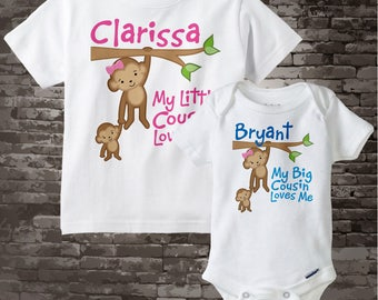 Matching Set of Two My Big Cousin Loves Me and My Little Cousin Loves Me Monkey Girl and Boy Set of one tee and one onesie 03202014d