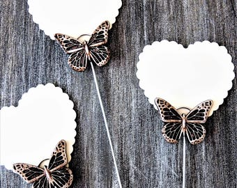 TABLE NUMBER HOLDER Tall Wire Card Holders Photo Floral Picks Picture Wedding Sign Cake Topper Clip Silver Bronze Gold Long Unique Butterfly