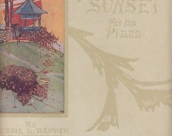 A Japanese Sunset for Piano 1916 Sheet Music by Jessie L Deppen