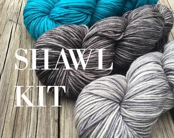 KIT Riptide Rebel Shawl Frolicking Mermaid Set DK Treasures Yarn Pattern PDF Stitch Markers superwash merino turquoise silver charcoal gray
