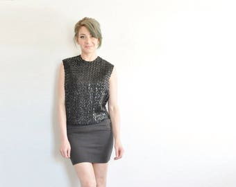 mod boxy black sequin top . 1960 sleeveless sparkle blouse .small.medium