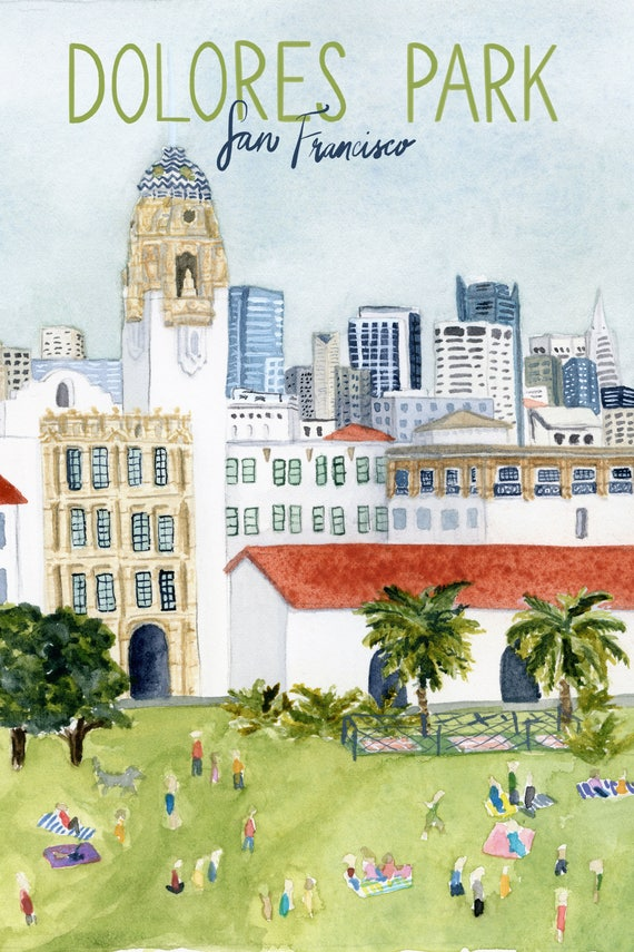 Dolores Park, San Francisco Travel Poster art print of an original watercolor illustration