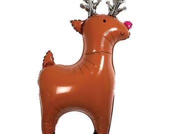 REINDEER Balloon, Reindeer, Reindeer Decor, Meri Meri Reindeer Balloon, Holiday Balloon, Reindeer Party,Red Nose Reindeer,Meri Meri Reindeer
