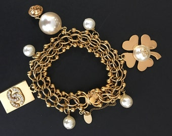 Vintage Charm Bracelet French Designer Inspired with logo charms faux pearls rhinestones and safety catch chain 7.5""
