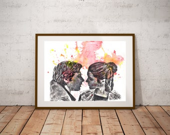 Star Wars Art Poster Print Han Solo and Princess Leia From Original Painting 13x19 Star Wars Art Print Star Wars Print Star Wars Decor