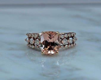 Morganite Engagement Ring, Rose Gold Morganite Ring, Diamond Bands, Morganite Ring, Rose Gold Ring, Rose Gold & Diamonds, Appraisal Incl.