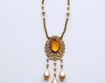 1930s citrine glass brass filigree dangle necklace / 30s antique art deco brass faux pearl beaded fringe / vintage bridal champagne necklace