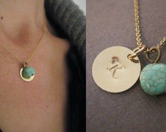 Gold initial charm necklace with turquoise bead and Gold Filled chain, custom initial