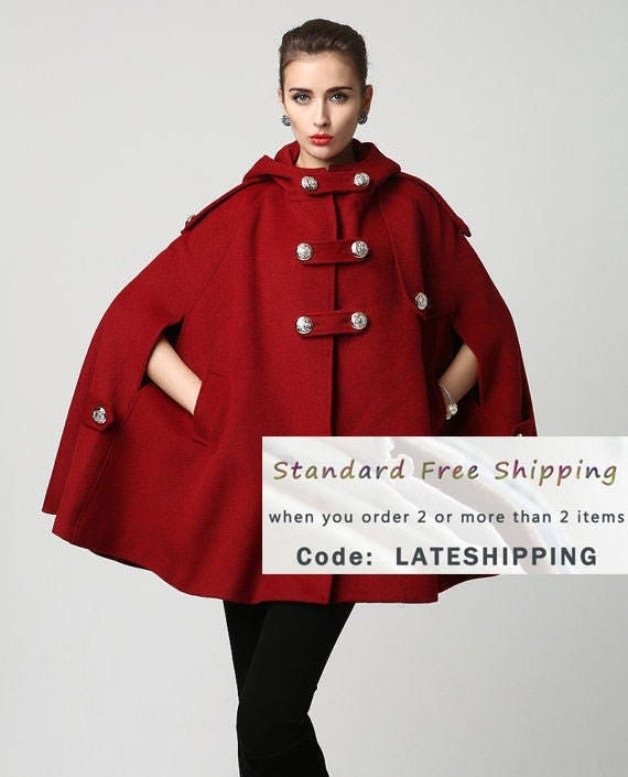 Cape wool cape military jacket red cape coat hooded cloak