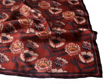 Silk Pocket Square / Floral Silk Pocket Square / Poppies and Chrysanthemums Pocket Square / Red Pocket Square