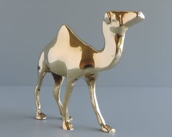Vintage Brass Camel Figurine, Dromedary One-Hump Animal Statuette, Home and Office Decor