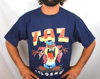 Vintage 90s 1995 Taz  Looney Tunes Hip Hop Tee Shirt Tshirt Colorado