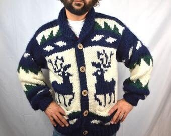 Vintage 70s Cowichan Cardigan Wool Sweater - FAB Canada