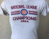 Chicago Cubs 1984 National League Eastern Division Champions genuine vintage t-shirt - size medium